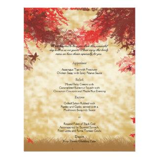 Fall Colors: Burgundy and Red Branch Wedding Menu 21.5 Cm X 28 Cm Flyer