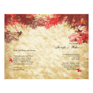 Fall Colors: Burgundy and Red Wedding Program Flyer Design