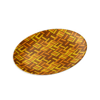 Fall colors, ceramic-look tiled pattern plate