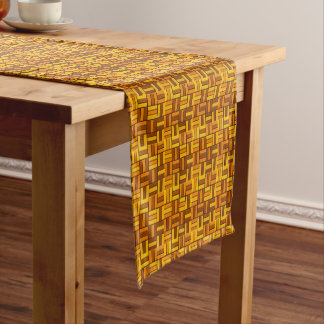 Fall colors, ceramic-look tiled pattern short table runner