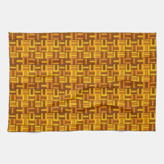 Fall colors, ceramic-look tiled pattern tea towel