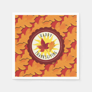Fall Colors Happy Thanksgiving Disposable Serviettes