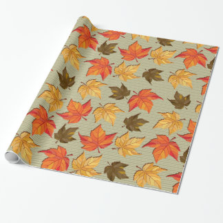 Fall Colors Leafs Seamless Pattern Wrapping Paper
