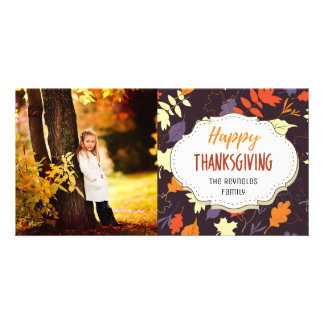 Fall Colors Leaves Thanksgiving Picture Photo Card