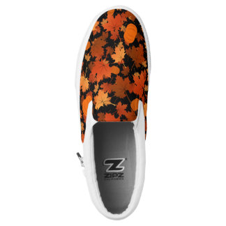 Fall colors maple leaves and pumpkins pattern Slip-On shoes