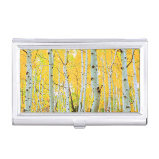 Fall colors of Aspen trees 1 Business Card Holder