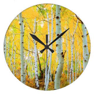 Fall colors of Aspen trees 1 Large Clock