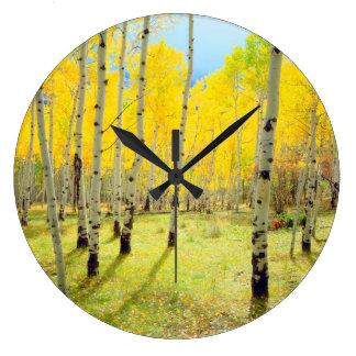 Fall colors of Aspen trees 4 Large Clock