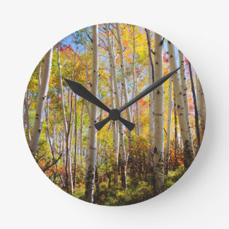 Fall colors of Aspen trees 5 Round Clock