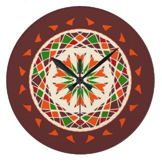 Fall colors of brown, burnt orange, green mandala wallclocks
