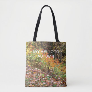 fall colors on tote bag