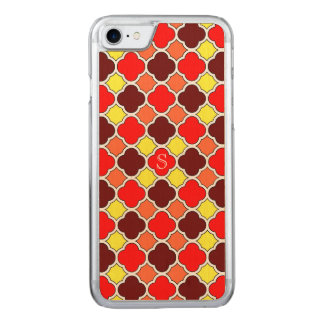 Fall Colors Red Orange Yellow Quatrefoil Monogram Carved iPhone 8/7 Case