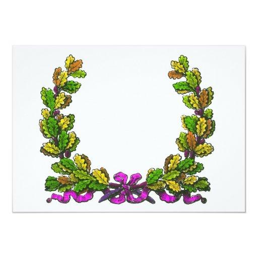 Fall coloured wreath and purple ribbon custom invitation