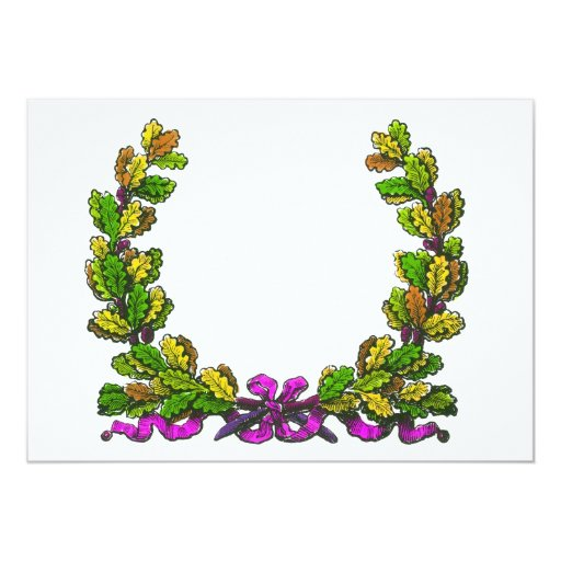 Fall coloured wreath and purple ribbon 13 cm x 18 cm invitation card