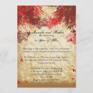 Fall Colours: Burgundy and Red Branches Anniversar Invitation