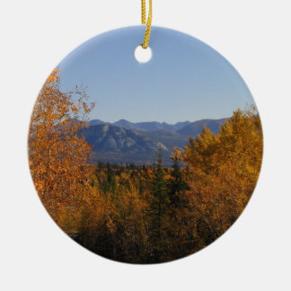 Fall Colours in the Mountains; No Text Round Ceramic Decoration