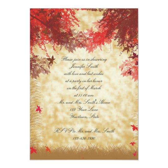 Fall Colours on Ecru Bridal Shower Invitation