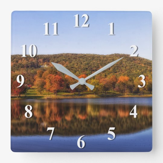Fall Colours Reflected On A Lake Wall Clock