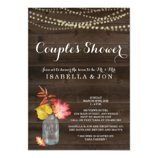Fall Couple Shower Invitation, Bridal Wedding Baby Card