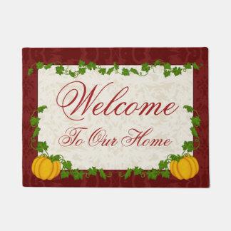Fall Cream and Maroon Fleur Pumpkin Doormat