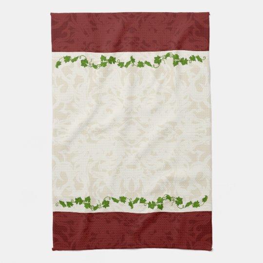 Fall Cream and Maroon Fleur Vines Tea Towel