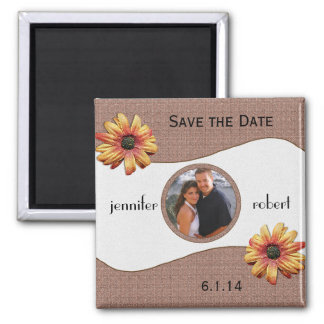 Fall Daisy on Brown Weave Save the Date Magnet