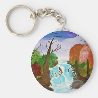 Fall Day Basic Round Button Key Ring
