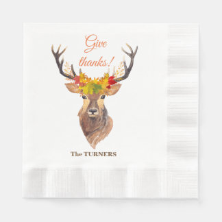 Fall Deer Head Skull Give Thanks Typography Paper Serviettes