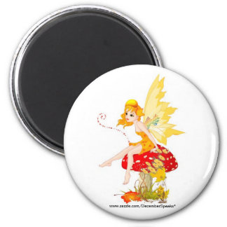 Fall fairy 6 cm round magnet