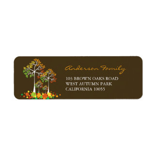 Fall Family Tree Autumn Thanksgiving Address Label