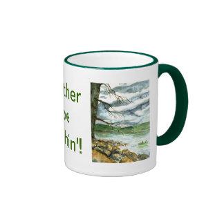 Fall Fishing - watercolor Ringer Coffee Mug
