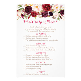 Fall Floral Bridal What's In Your Phone Game Flyer