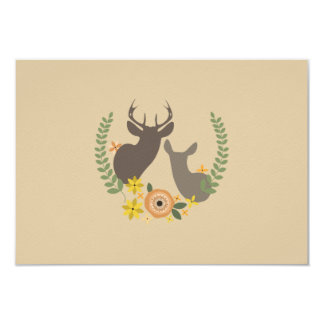 Fall Floral Deer Wedding RSVP 9 Cm X 13 Cm Invitation Card