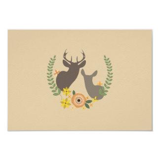 Fall Floral Deer Wedding RSVP 9 Cm X 13 Cm Invitation Card