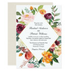 Fall Floral Diamond Frame Wedding Card