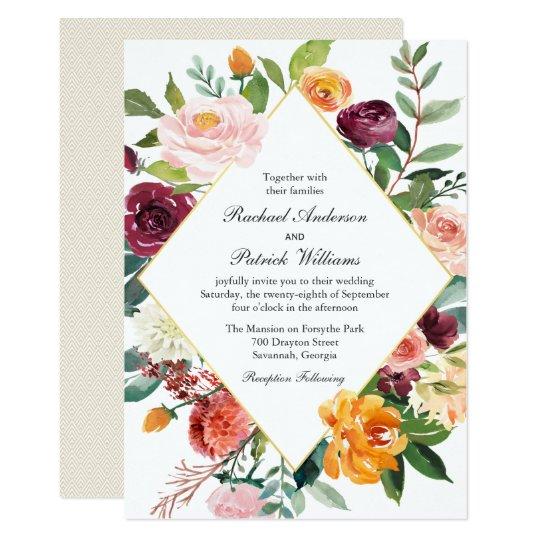 Fall Floral Diamond Frame Wedding Card
