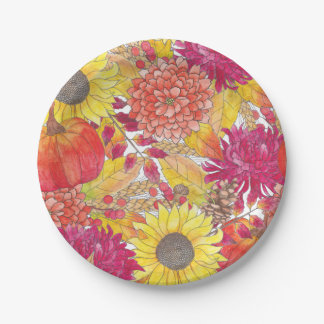 Fall Floral Paper Plate