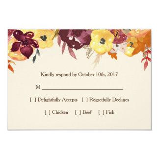 Fall Floral RSVP Card for Wedding or Bridal Shower