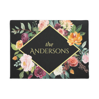 Fall Floral with Your Family Name Doormat