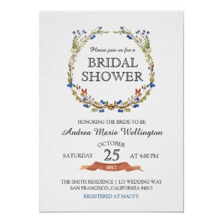 Fall Floral Wreath Bridal Shower invitation