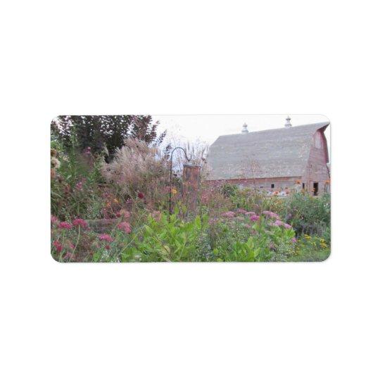 Fall flowers & Barn Address Label