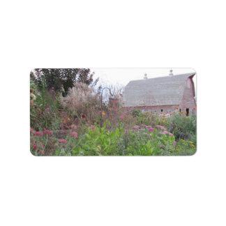 Fall flowers & Barn Label