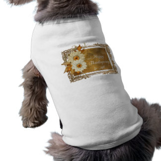 Fall Flowers D1 - Happy Thanksgiving Doggie Tee