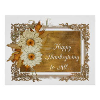 Fall Flowers Design 1 - Happy Thanksgiving Print