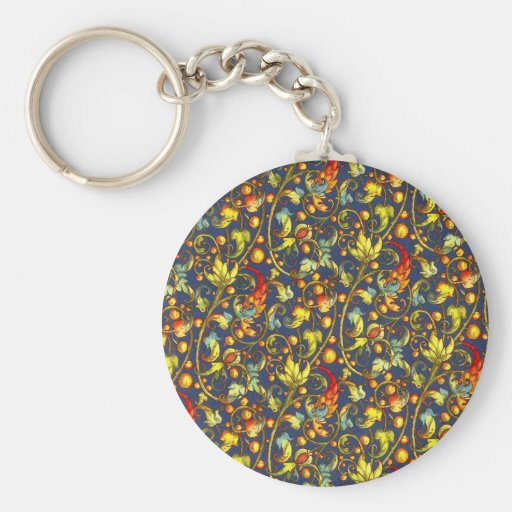 FALL FLOWERS ON A BLUE BACKGROUND KEYCHAIN