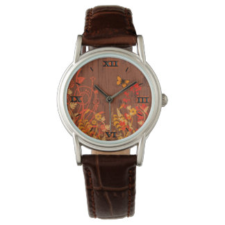 Fall Flowers with Butterfly Fashion Watch by Julie