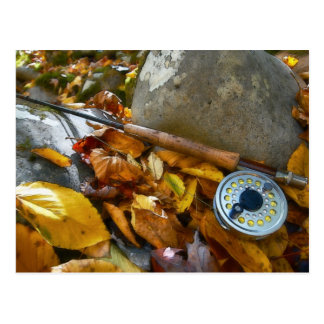 Fall Fly Fishing Rod Postcard