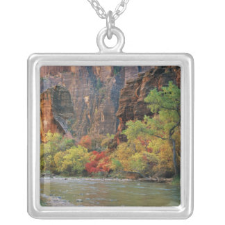 Fall foliage along Virgin River near gateway to Silver Plated Necklace