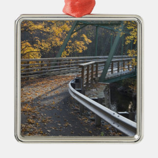 Fall foliage and a bridge over the Millers Silver-Colored Square Decoration