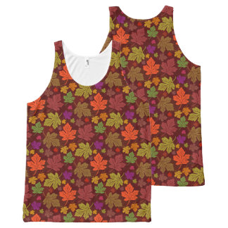 Fall Foliage Autumn Maple Leaves Pretty Colorful All-Over Print Tank Top